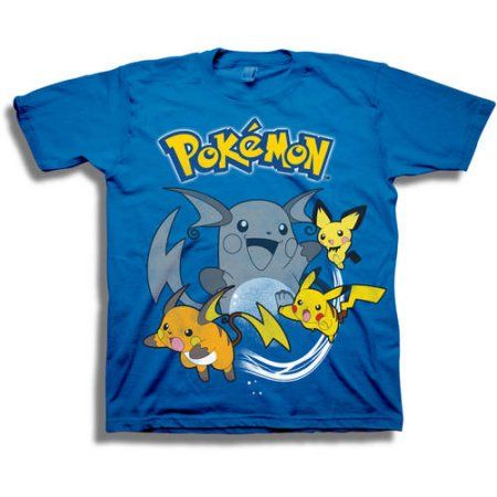Pokemon Pikachu Evolutions Boys Short Sleeve Graphic Tee T-Shirt, Size: XL (14/16), Blue
