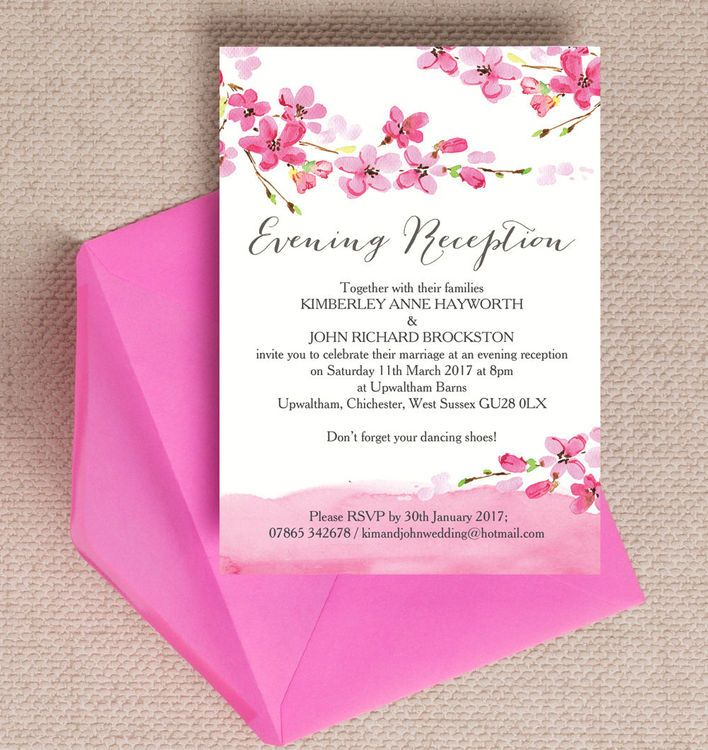 how to word evening wedding reception invitations%0A Cherry Blossom Evening Reception Invitation