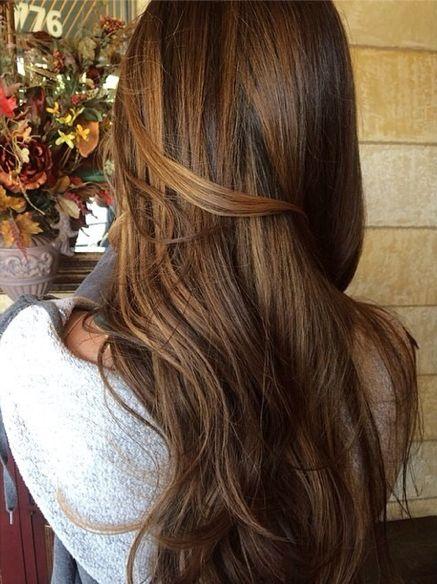 Chestnut brown hair with golden balayage highlights. Hair by Nora Meram, Ken Paves Salon Michigan. #brunette #haircolor #fallhair #highlights