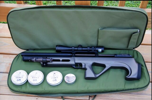 Russian made Edgun Matador in factory supplied case with the iconic gray labelled JSB 18.1g diablos. Quite possibly the world's most accurate air rifle/pellet combination.