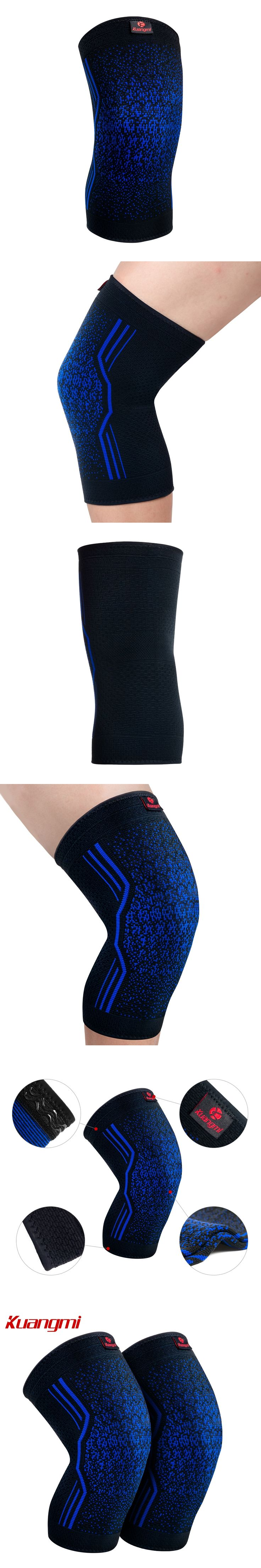 Kuangmi 1 Pair Knee Pads Silicone Non-slip Volleyball Knee Sleeve Elastic Knee Brace Support Sports knee Protector Basketball