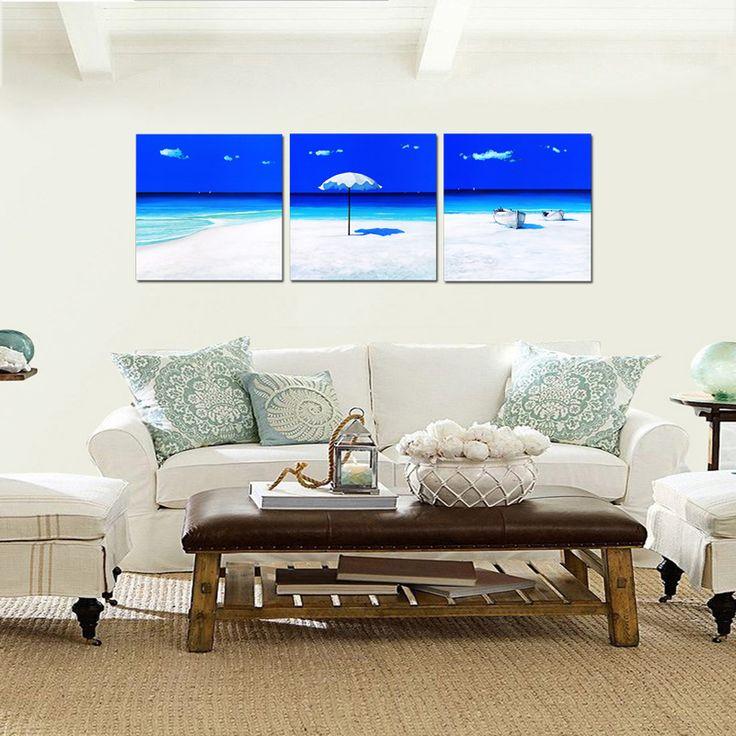 Quadri spiaggia con ombrellone e barche cm 50x50 per 3 pannelli (SJMD7265)