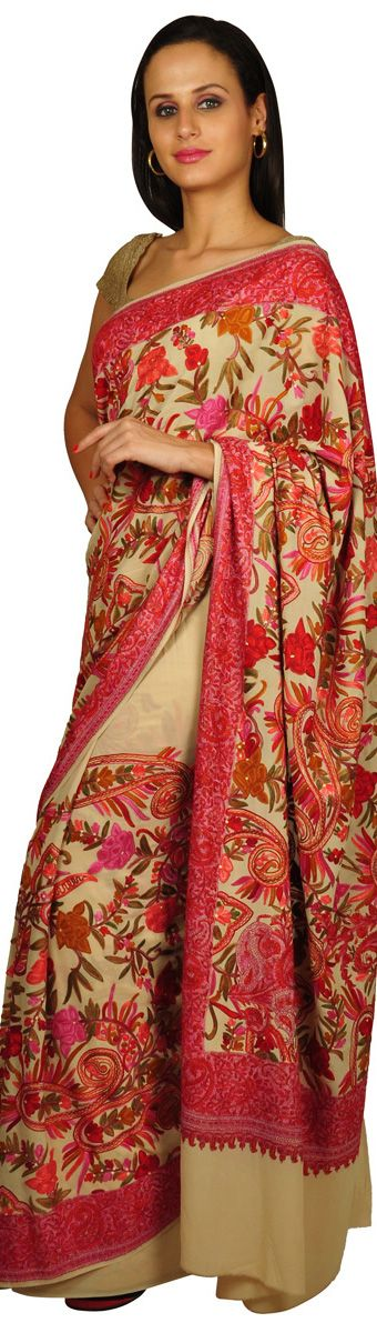 "Kashida work: Kashmiri hand embroidery on Saree. Sozni style with no visibly ""right"" side."