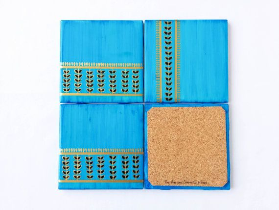 Blue Coaster hand painted coasters eclectic decor boho