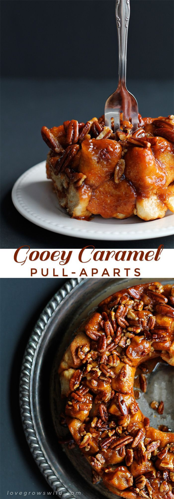 Gooey Caramel Pull-Aparts - only 5 ingredients needed for this delicious, decadent treat! Serve warm out of the oven for breakfast OR dessert.   LoveGrowsWild.com