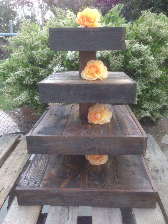 Rustic Reclaimed Wood Cupcake Tier by WoodOnWoodEncinitas on Etsy, $200.00
