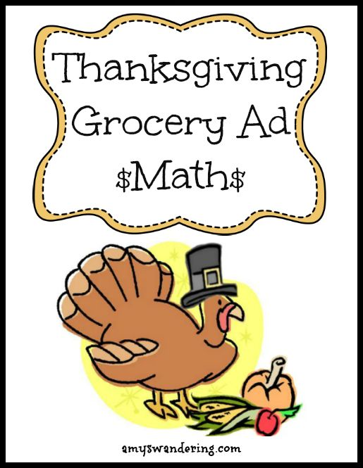 Grab that stack of sale flyers and have some fun with this printable Thanksgiving Grocery Ad Math Scavenger Hunt