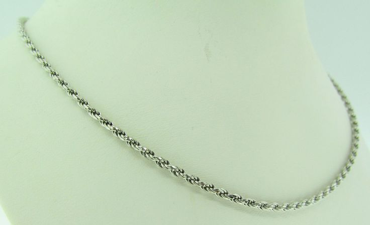 """14 K white gold rope chain. 19.5"""" long. by VintageJewelryBazaar on Etsy"""