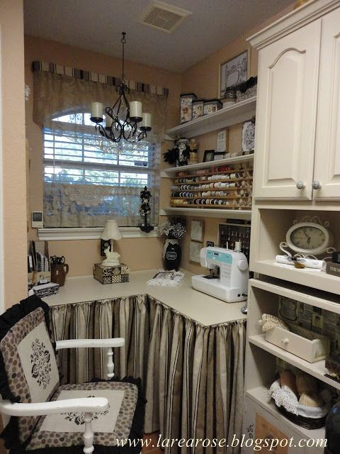 Celestina Marie Designs: Laundry Sewing Room Makeover! { alcove; luv the skirting, 2 }