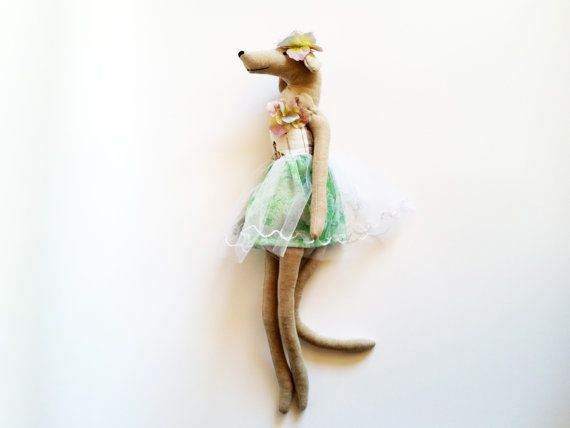 Greyhound  Heirloom Greyhound Dog Doll by rabbitanddog on Etsy