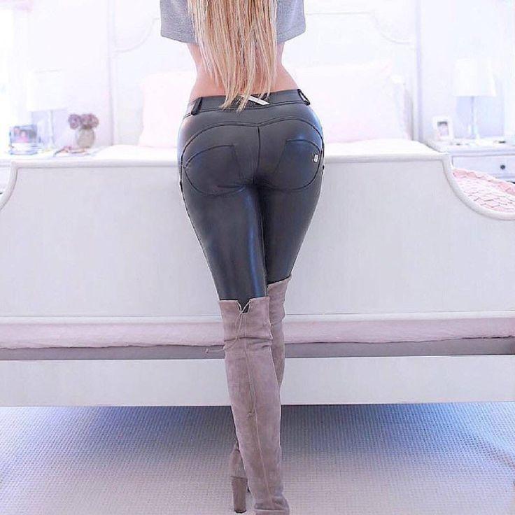 Nagy rugalmasságú alacsony derék legging HASONLÓ PU bőr szűk nadrág - BB Áruk