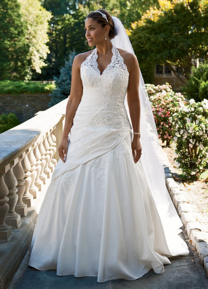 David's Bridal Wedding Dress Taffeta Lace Halter A-Line with Side Drape Style... #DavidsBridalWoman #WeddingDressesPlusSize