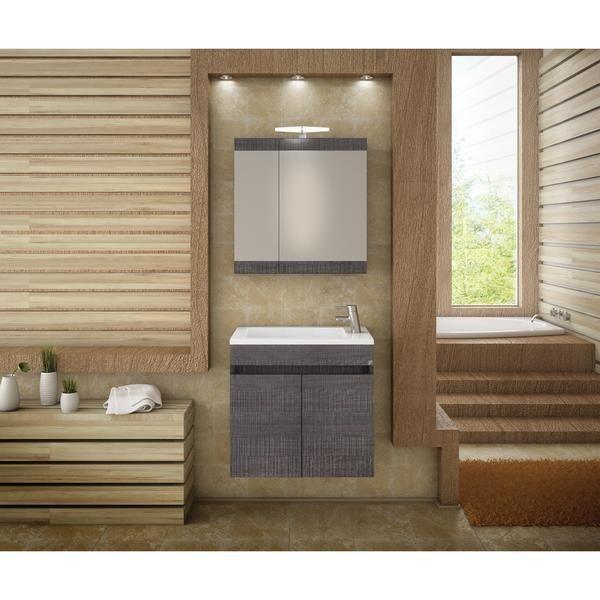 "DP Wall Bath Vanity Cabinet Set 21.7"" Single Sink W/ Laminated Dark Gr"