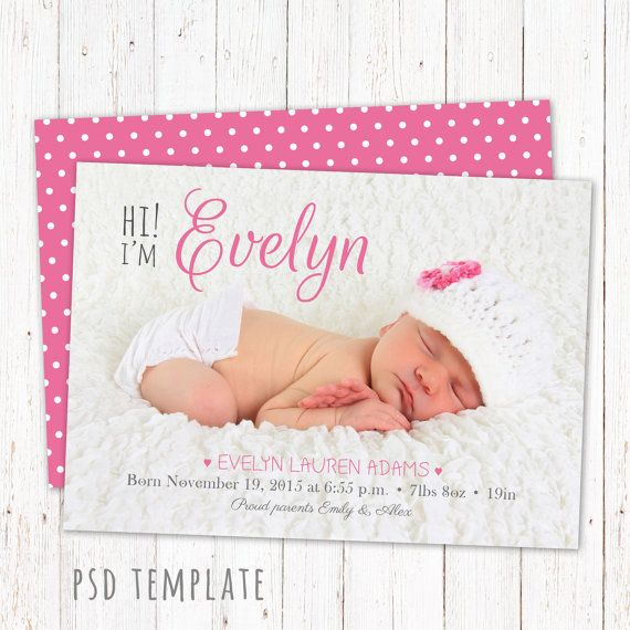 Birth announcement template card. Fully editable by GraphicCorner