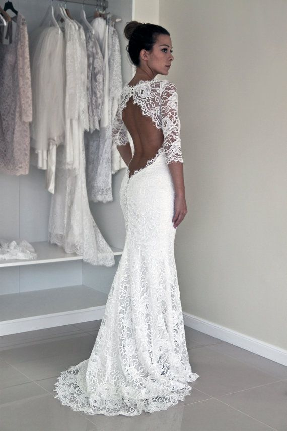 Keyhole Back Wedding Dress in Corded French Lace, Illusion Neckline Lace Dress, Trumpet Wedding Dress with Sleeves: