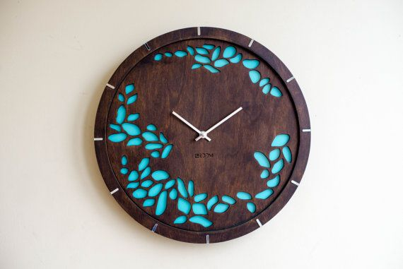 "Modern Wall Clock ""Tree leaves"" Large Wall Clock, Wooden Clock, Wood Decor Green Leaves Interior, plywood, handmade, HERMLE mechanism, oil"