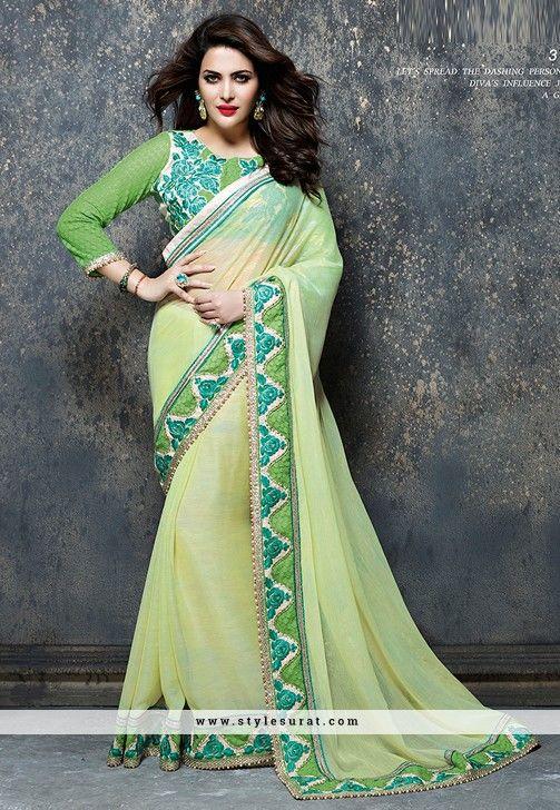 Luminous Light Green Net Designer Party Wear Saree