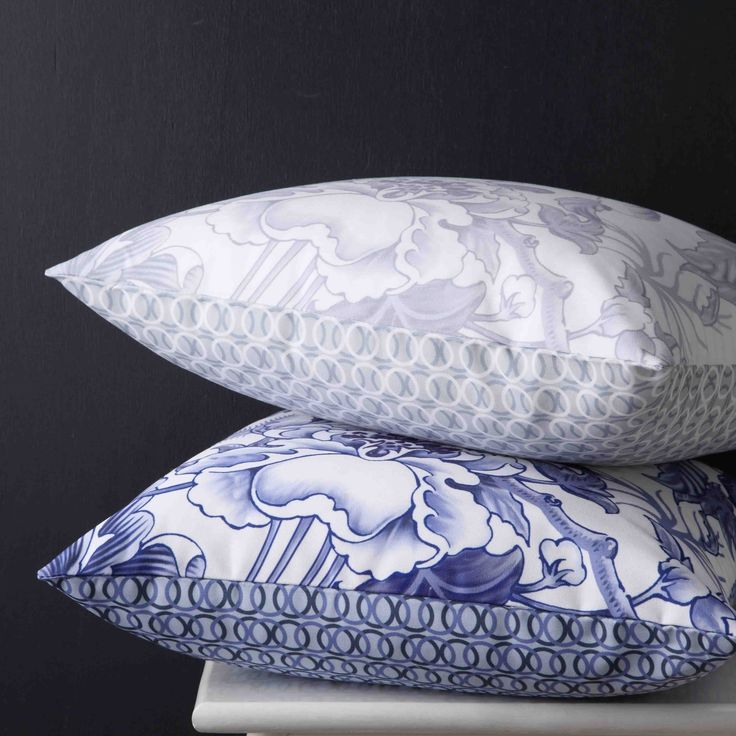 WEDGWOOD - Hibiscus Square Cushions  #bedroom #decor #bed #style #floral #mint #white #wedgwood