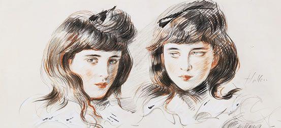 Paul-César Helleu,Ellen, 2 études de tête Dessin aux trois crayons