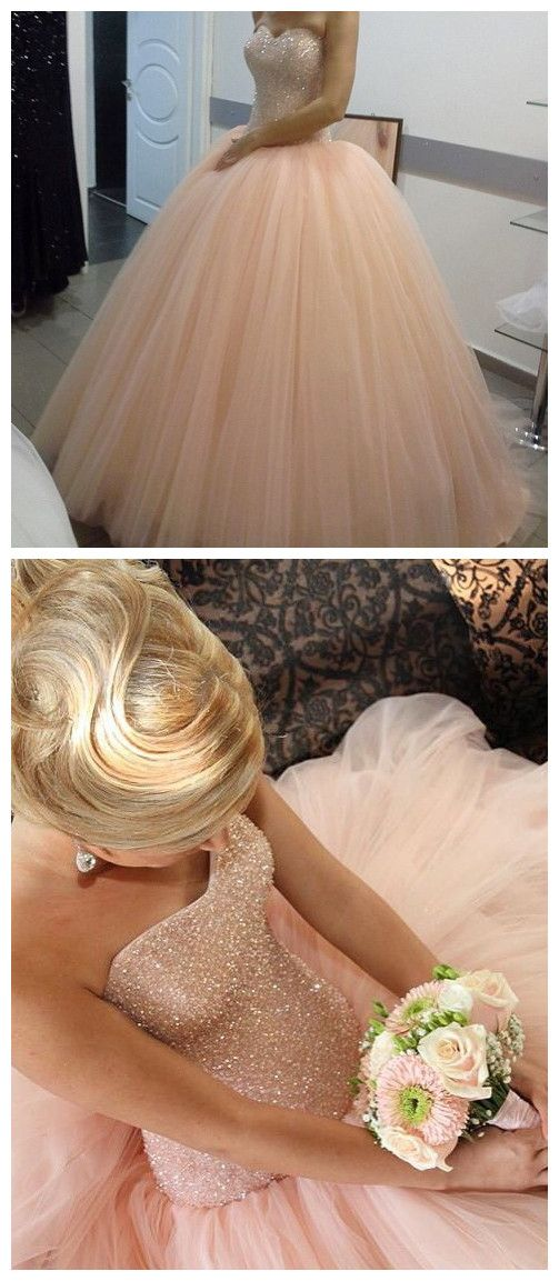 New Arrival Prom Dress,Modest Prom Dress,pink tulle Sparkly
