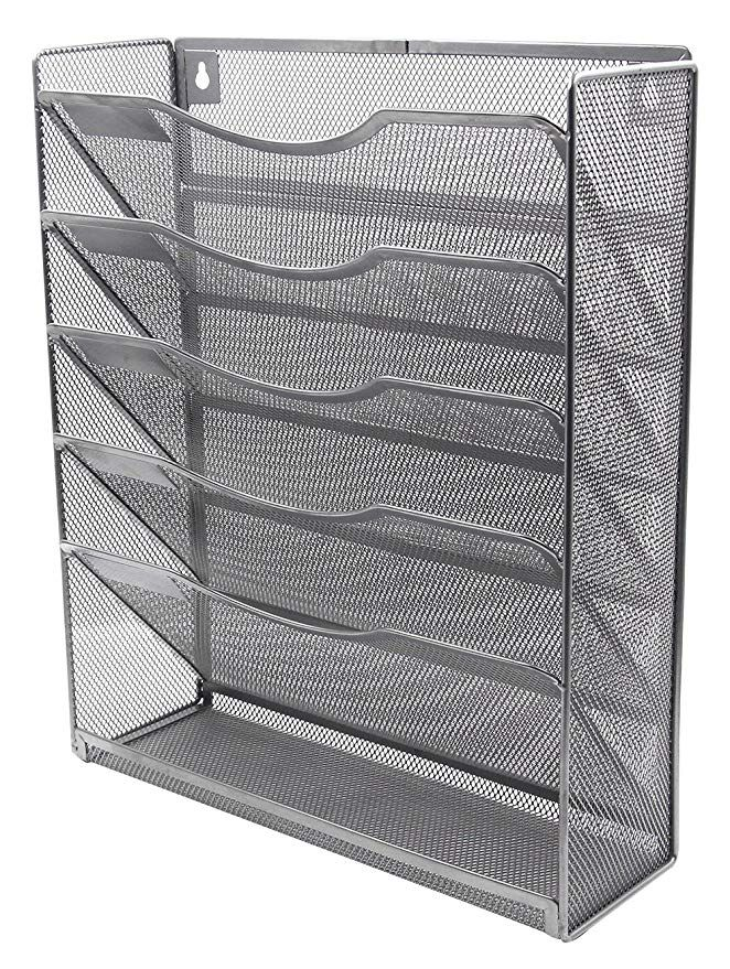 Easypag 6 Tier Mesh Wall Hanging File Holder Organizer Magazine Rack Silver 21 89 Organization Magazine Holders Metal Mesh