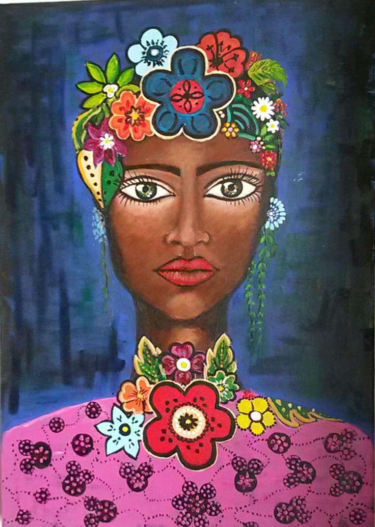 ELEGANCE COOKIES, Art, Afro,  acrylic,  Painting, support,  black art, Fashion  art, black woman, paint, art of the Day,  Frida Kahlo,  Pink,  colorful, eyes, walldecor,  flowers, canvas, satılık tablo, sanat,  resim, ressam