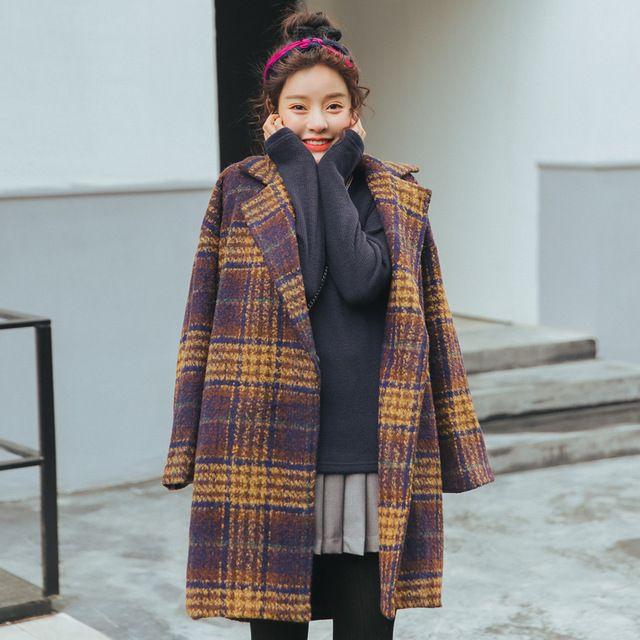 Nueva tela escocesa del estilo británico de lana de la moda abrigo de alta calidad casua chaqueta de cuello outwear turn amarillo trench niñas elegancia clothing