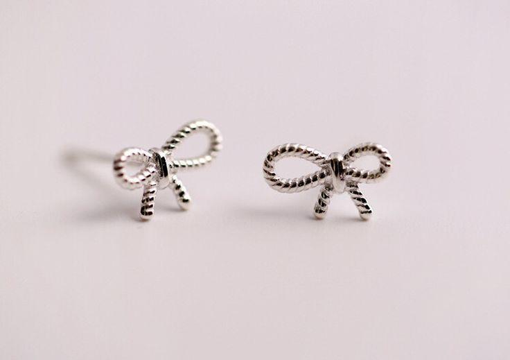 925 Sterling Silver bowtie earrings£¬cute bow earrings