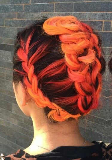 Black bright orange braided updo hairstyle dyed hair color ...