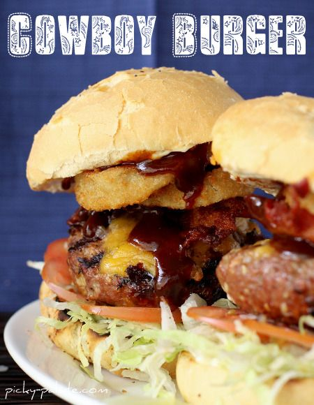 cowboy burger: Ultimate Cowboys, Cowboys Burgers, Ranch Zucchini, Bacon Ranch, Burgers Recipe, Cheddar Cheese, Zucchini Kebabs, Barbecue Sauces, Onions Rings