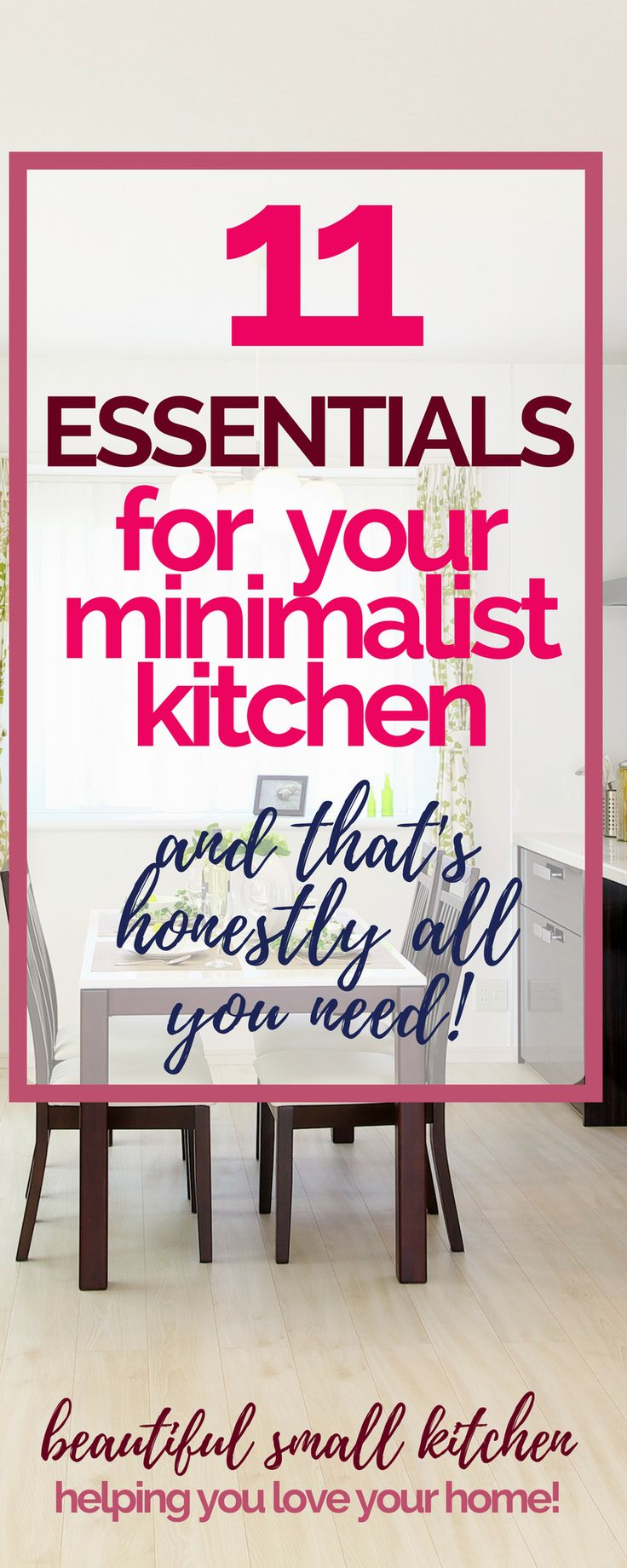 A minimalist kitchen? What you REALLY need to cook for your family. Here's a comprehensive list of essential kitchen items from a real life family kitchen! #minimalistkitchen #minimalism #minimalistfamily