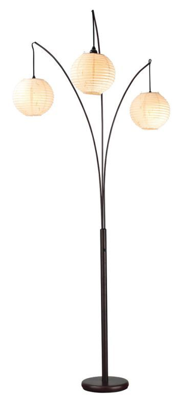Adesso 4101 spheres 3 light 68 tall tree floor lamp with rice paper shades antique