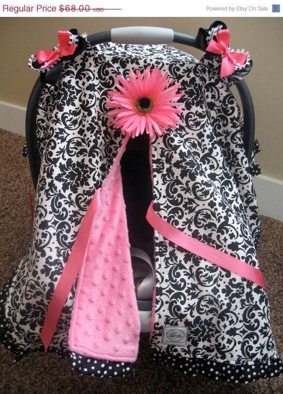 AUF Verkauf Infant Car Seat Überschirmungsgrad enge Umarmung--Black White Damast mit rosa minky und Polka Dot trim - MADE To Order