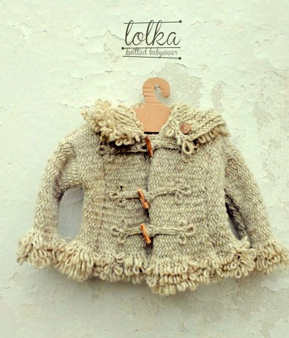 Handknit natural white baby jacket, with handmade wooden buttons. Knitted child coat. Knitted baby hoodie.