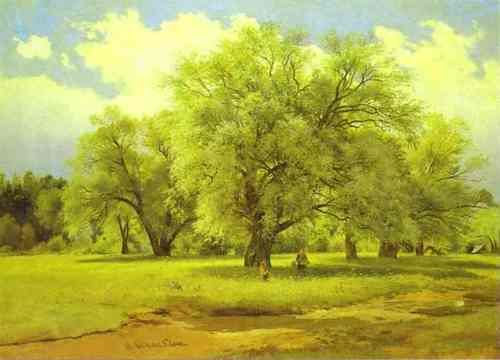 Ivan Shishkin Willows Lit Up by the Sun, 1860-1870, oil on canvas,