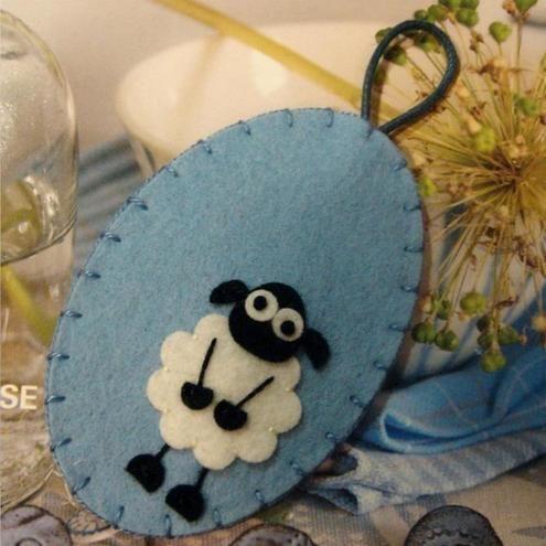 Fluffy sheep wool felt oval bookmark -sky blue