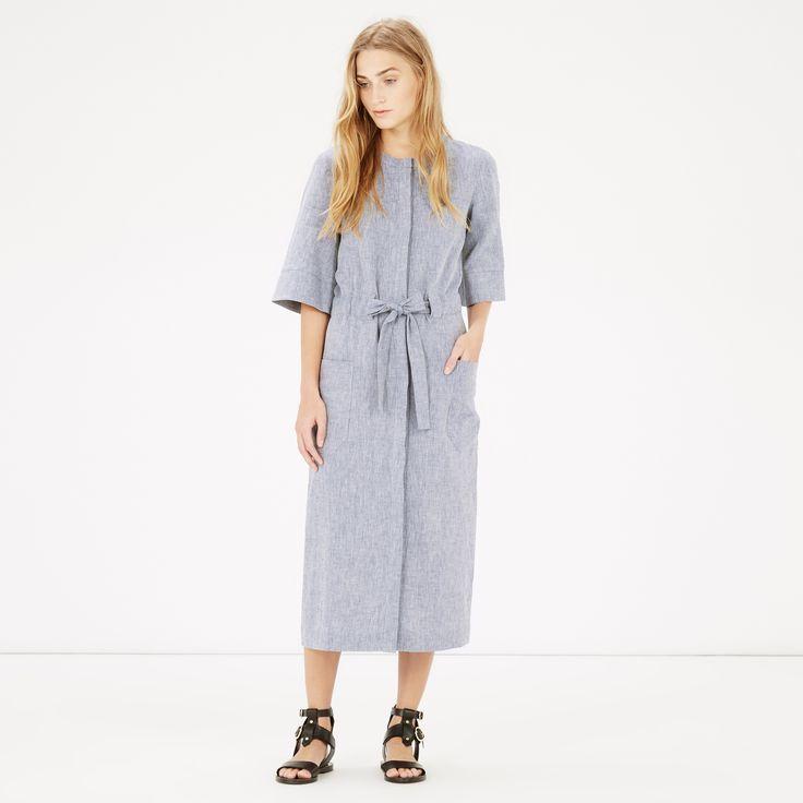 Warehouse, Linen Mix Belted Dress Light Blue 4