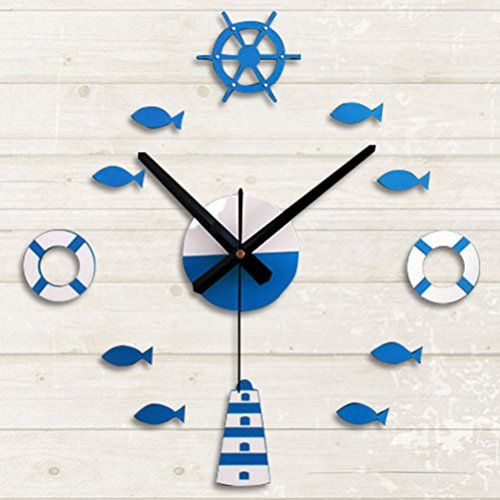 New Blue Mediterranean DIY Adhesive White Tower Rudder Fish Lifebuoy Frameless Wall Clock 3D Home Decor ** More info could be found at the image url.
