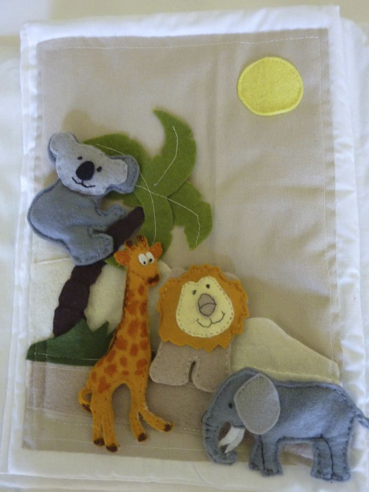 quiet book page, lion,elephant,giraffe and koala,animals from africa,safari animals.