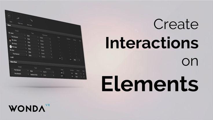 Wonda VR Basics   Create interactions on elements