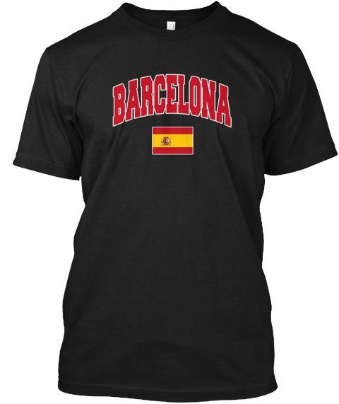 Barcelona Spain T Shirt Vacation Tee Black T-Shirt Front