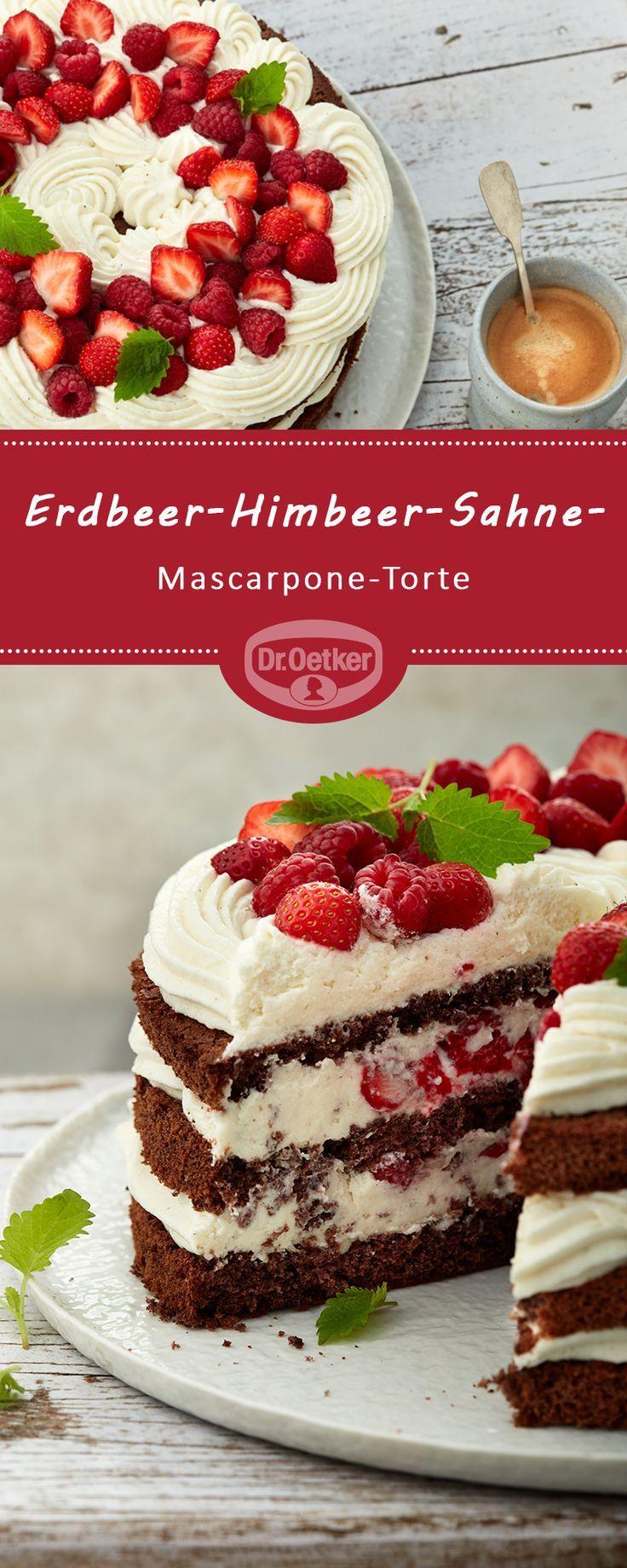 Erdbeer-Himbeer-Sahne-Mascarpone-Kuchen