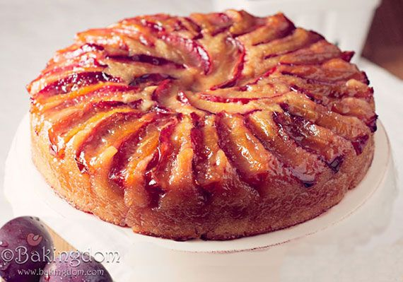 A fantastic Upside-down Plum Cake recipe where juicy fresh plums are transformed into a layer of intensely colored and flavored, luscious deliciousness.