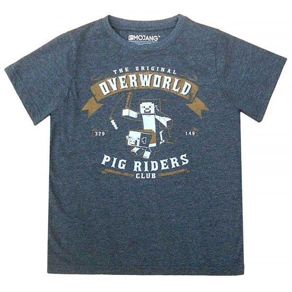 Minecraft t-shirt i grå farve og med super sejt motiv fra spillet.