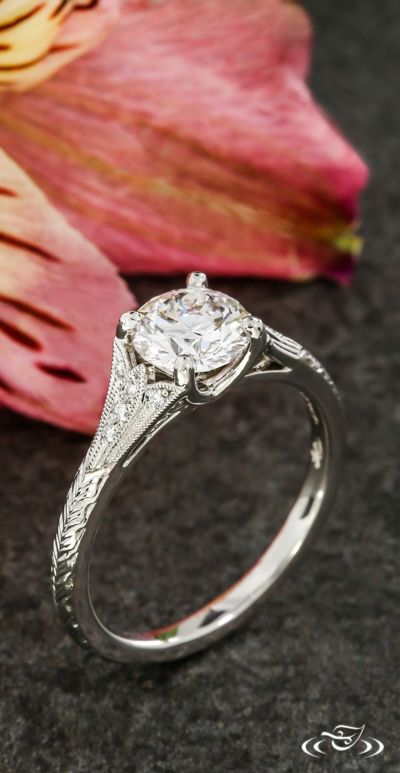 Wheat Engraved Engagement Ring. Green Lake Jewelry 113592
