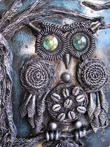 Картина панно рисунок Ассамбляж Сова-ключница Бумага Картон Клей Кожа фото 1