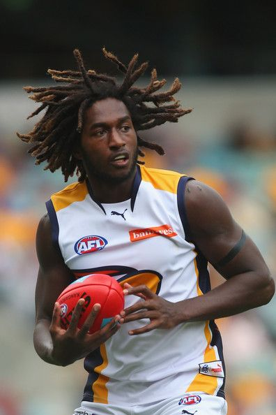 Nic Naitanui of the Eagles takes a mark during the round seven AFL match between the Brisbane Lions and the West Coast Eagles at The Gabba on May 11, 2013 in Brisbane, Australia.