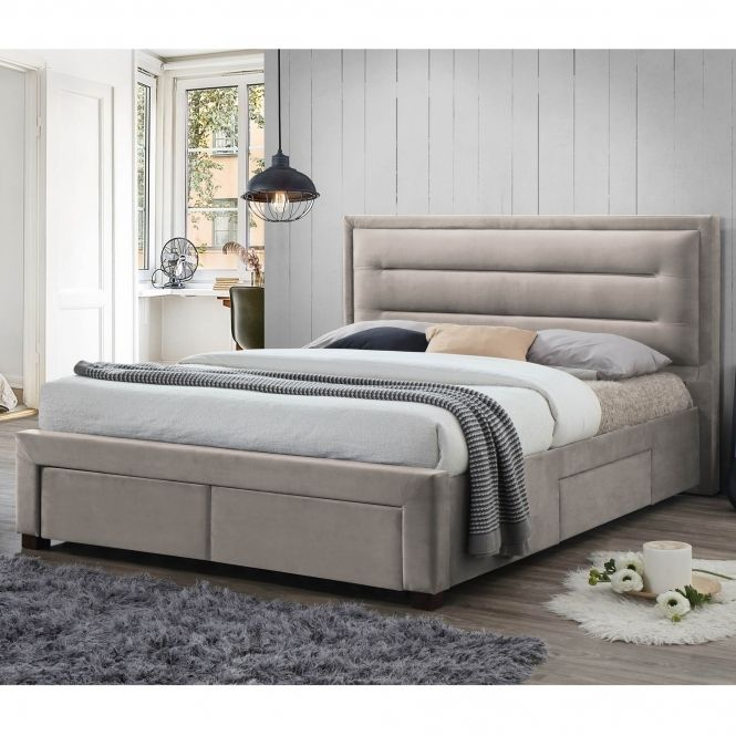 Pippa Champagne Fabric Bed Bunk Bed Designs Ottoman Storage Bed