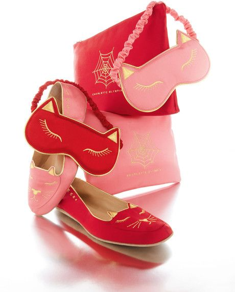 Charlotte Olympia Satin Kitty Slippers Eye Mask Set Pink in Pink