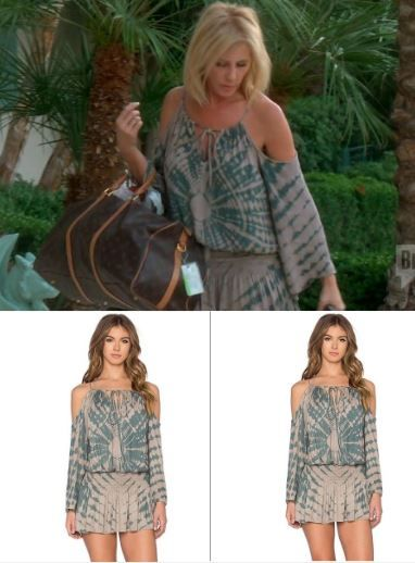 Vicki Gunvalson's Tie Dye Cold Shoulder Dress at the Merv Griffin Estate  Season 11 Epiode 9 of The Real Housewives of Orange County http://www.bigblondehair.com/real-housewives/vicki-gunvalsons-tie-dye-cold-shoulder-dress/